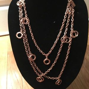 "Karine Sultan 72"" rose gold metal necklace"
